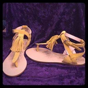 NEW Sole Society Sunflower Yellow Suede Sandals